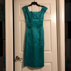 50s 60s formal cocktail prom dress teal